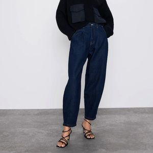 NWT ZARA Bloggers Fave Favorite Blue SLOUCHY Darted Jeans Size 6